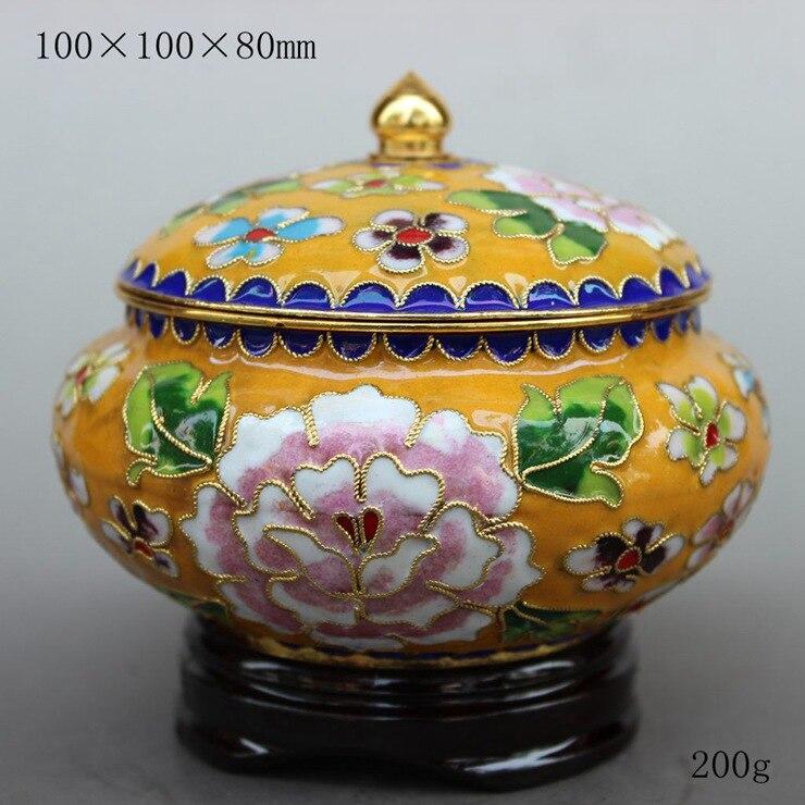 Émail cloisonné filigrane artisanat bidon de thé réservoir de stockage réservoir de stockage ornements de vent chinois
