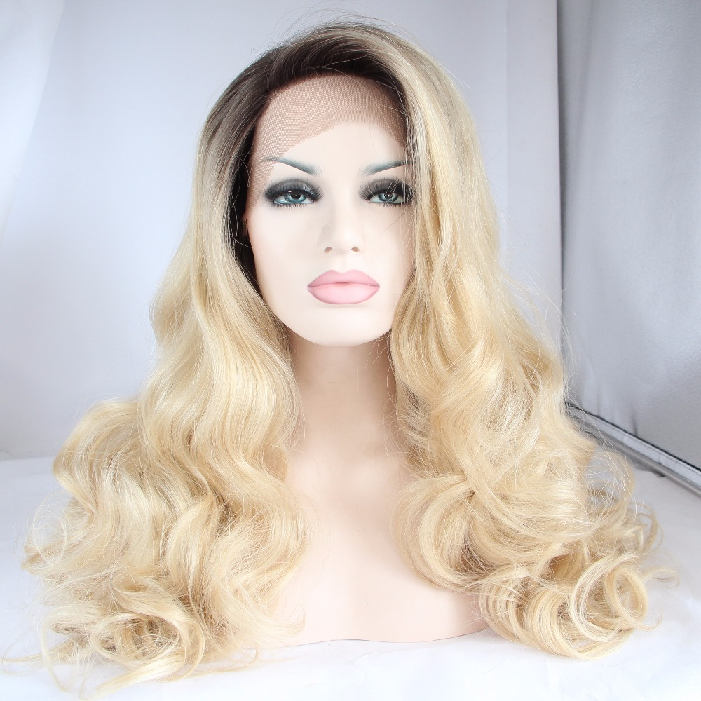 ФОТО DLME Body Wave Synthetic Fiber Two Tone Black / Honey Blonde 26'' Lace Front Wig Synthetic For African American Women