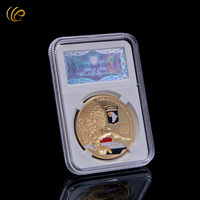 WR  24k 999.9 Gold Plated Coin US Airborne Army Coin Collectible Round Metal Coin with Security Code Box Decorative Gifts 40mm
