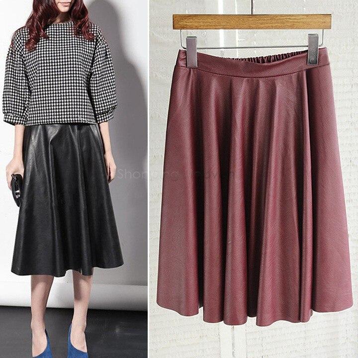 Women Vintage PU Leather Midi Skirt New Fashion 2015 Autumn Winter ...