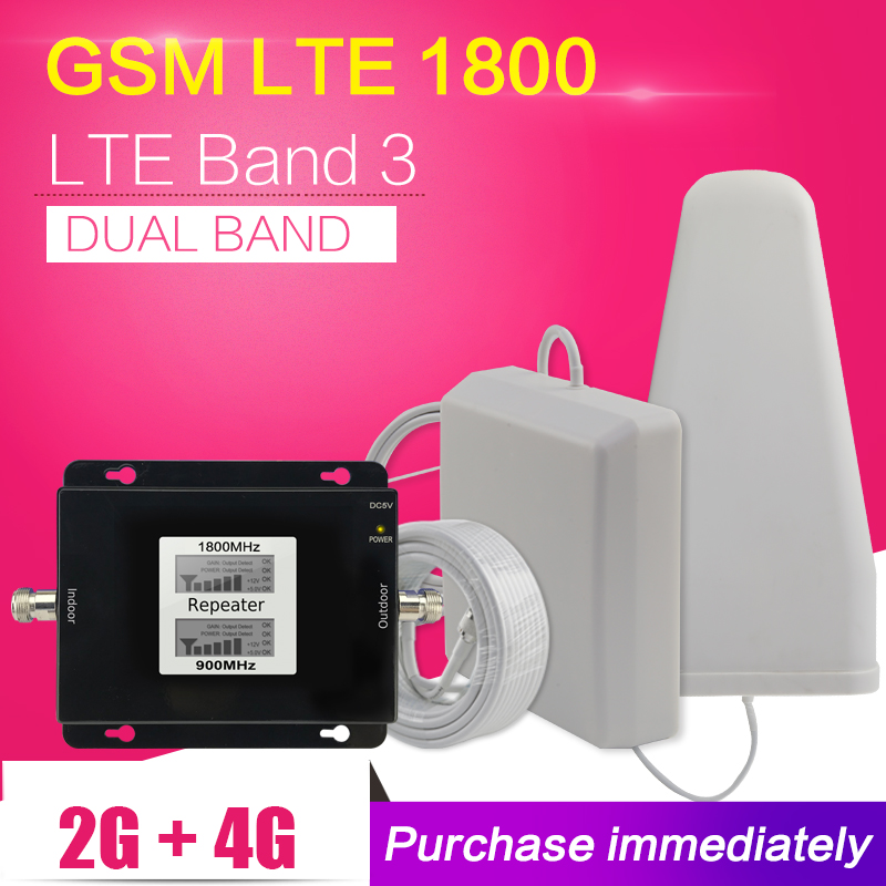 500 Metro Quadrato 2G 4G GSM 900 LTE 1800 Dual Band Telefono Cellulare Ripetitore di Segnale GSM 4G LTE Ripetitore Cellulare Amplificatore Antenna Set
