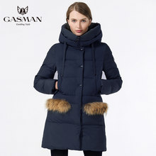 GASMAN 2019 Mode Vrouwen Winter Warme Jas Lange Merk Hooded Slim Katoen Gewatteerde Jas Down Winter Vrouwelijke Dikke Jas(China)