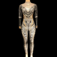 Блестящие кристаллы сексуальный комбинезон Для женщин блестящие сценический костюм певица Вечеринка наряд ночной клуб перспективные боди