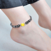 цена Magnetic square black stone anklet acrylic beads footwear Europe and the United States foreign trade sources онлайн в 2017 году