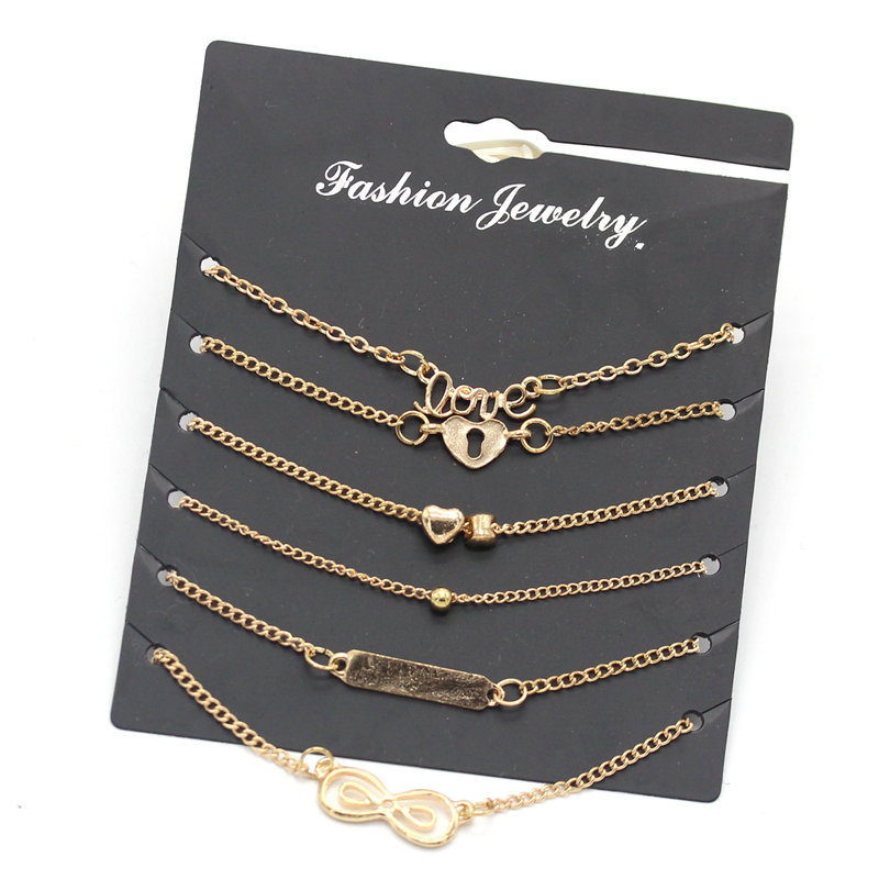 6Pcs Set Alloy New summer Bijoux Fashion Vintage Anklet Infinity 8 Bracelets For Women Ankle Bracelet Set Gift Jewelry in Anklets from Jewelry Accessories