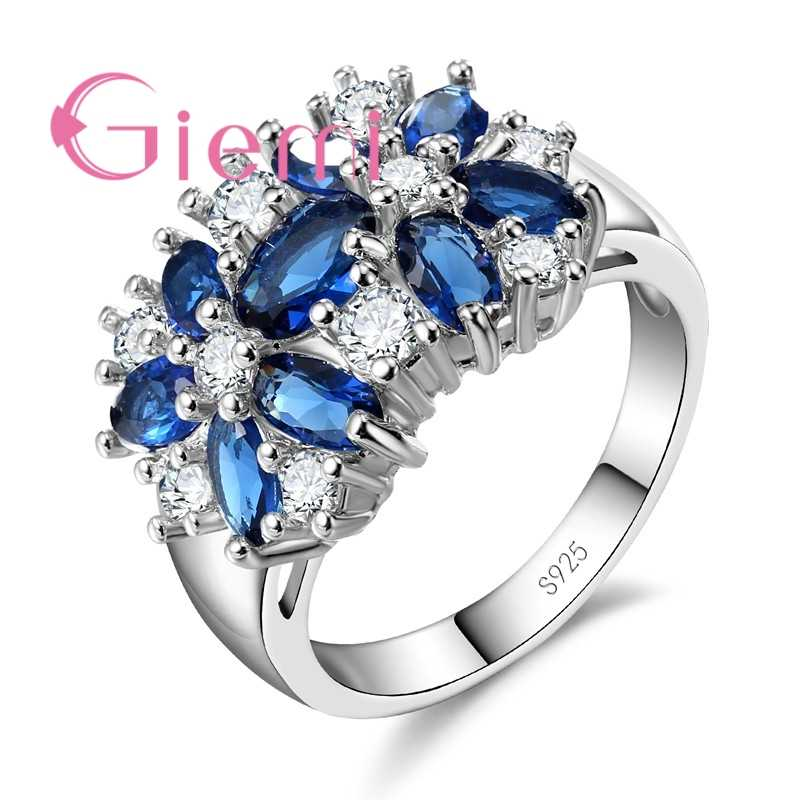 Women Valentine's Day Gift 925 Sterling Silver Romantic Wedding Large Colored Ring Blue Green Zircon Fingers Jewelry