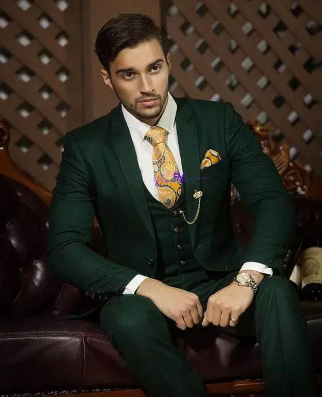 new color Hot Recommend Dark hunter Green Groom Tuxedos Notch Lapel Men Blazer Prom Suit Business Suit (Jacket+Pants+Vest+T