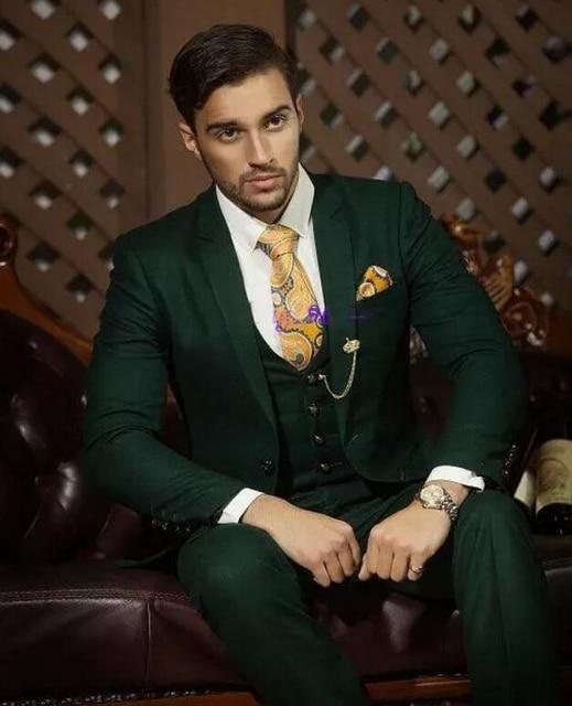 New Color Hot Recommend Dark Hunter Green Groom Tuxedos Notch Lapel Men Blazer Prom Suit Business Jacket Pants Vest T