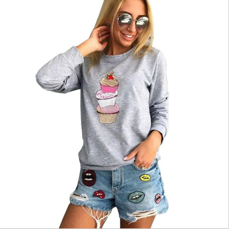 Harajuku Fox Fashion 2018 Clothing Women Hoodies Sweatshirts Full Sleeve O-neck ice cream Print Moletom Feminino sudaderas mujer