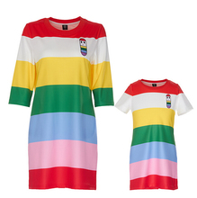 Europe Fashion 2016 Elegant Rainbow Stripe Print Mother Daughter Dresses Family Matching Outfits asual sleeveless mom and baby