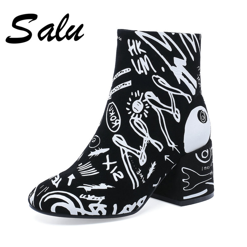 Salu 2018 new Women Ankle Boots Autumn Winter Pointed Toe Short Martin Shoes Woman High Heels Motorcycle Boots Female New Boots elegant women low high heels ankle boots pointed toe patchwork autumn winter shoes woman basic motorcycle boots dr b0038