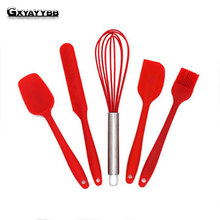 BAOBEIYY 5/Pcs Kitchen Silicone Pastry Cooking Baking Sets Cook Tools Pastry Oil Utensil Basting Brush DIY Baking Tools Gadgets