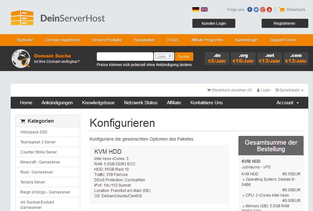 羊毛党之家 DeinServerHost:€5.55/月/5.5GB内存/55GB空间/3TB流量/DDOS/KVM/德国 https://yangmaodang.org