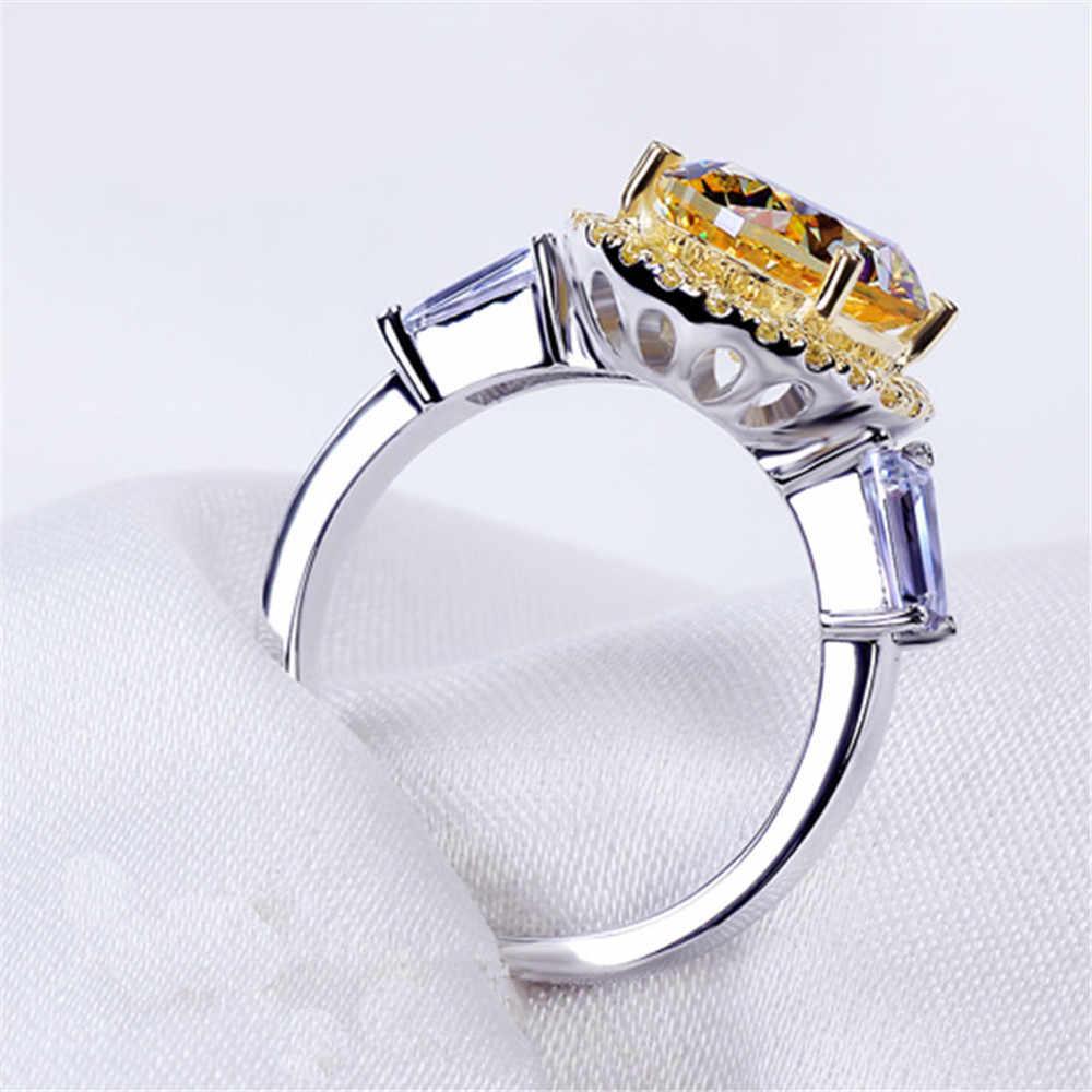 PANSYSEN 100% 925 เงินสเตอร์ลิงแหวนหมั้นเครื่องประดับ Citrine แหวนธรรมชาติ 8x10 มม.แหวนพลอยขายส่ง