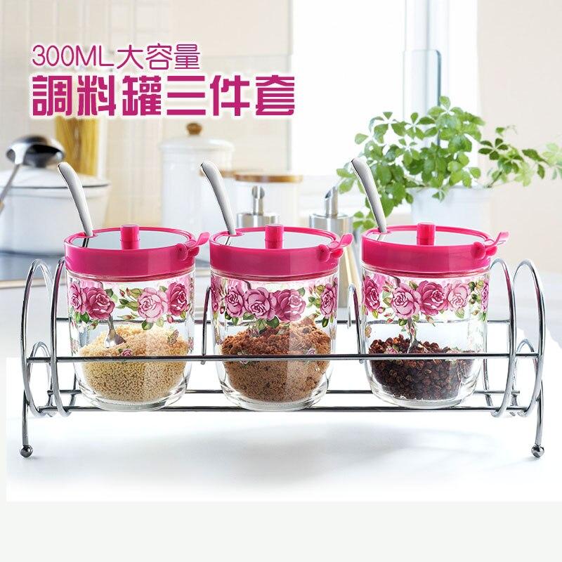Bocaux de stockage d'assaisonnement en verre créatifs Houmaid avec support épices/sel/poivre/bouteilles de farine avec support cuisine acce