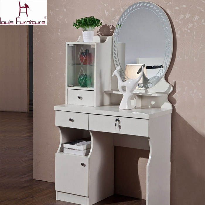 Concise Modern Style Dresser With Mirror, Dressing Table Bench Stool, Glass  Plate And Lockers