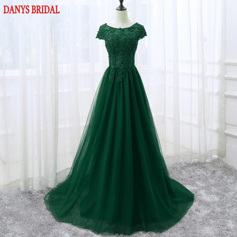 Emerald Green Long Lace Evening Dresses Party Beautiful Women Sequins Beaded Prom Formal Evening Gowns Dresses Wear