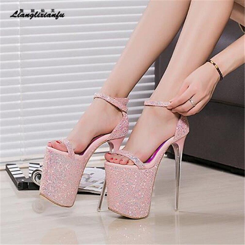 LLXF Summer zapatos Plus:34-41 42 43 Stiletto Fashion Summer Women 20cm Ultra High Heel Sandals Sexy Stripper Shoes Party Pumps