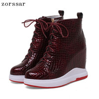 {Zorssar} 2018 Fashion womens boots winter Genuine Leather height increasing high heel shoes Platform ankle boots Women's shoes