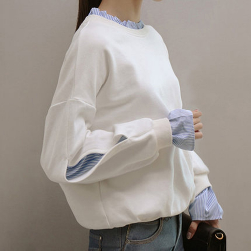 Women Spliced Long Sleeve Pullovers Tops Autumn Fake 2 Pieces Sweatshirts Casual Loose
