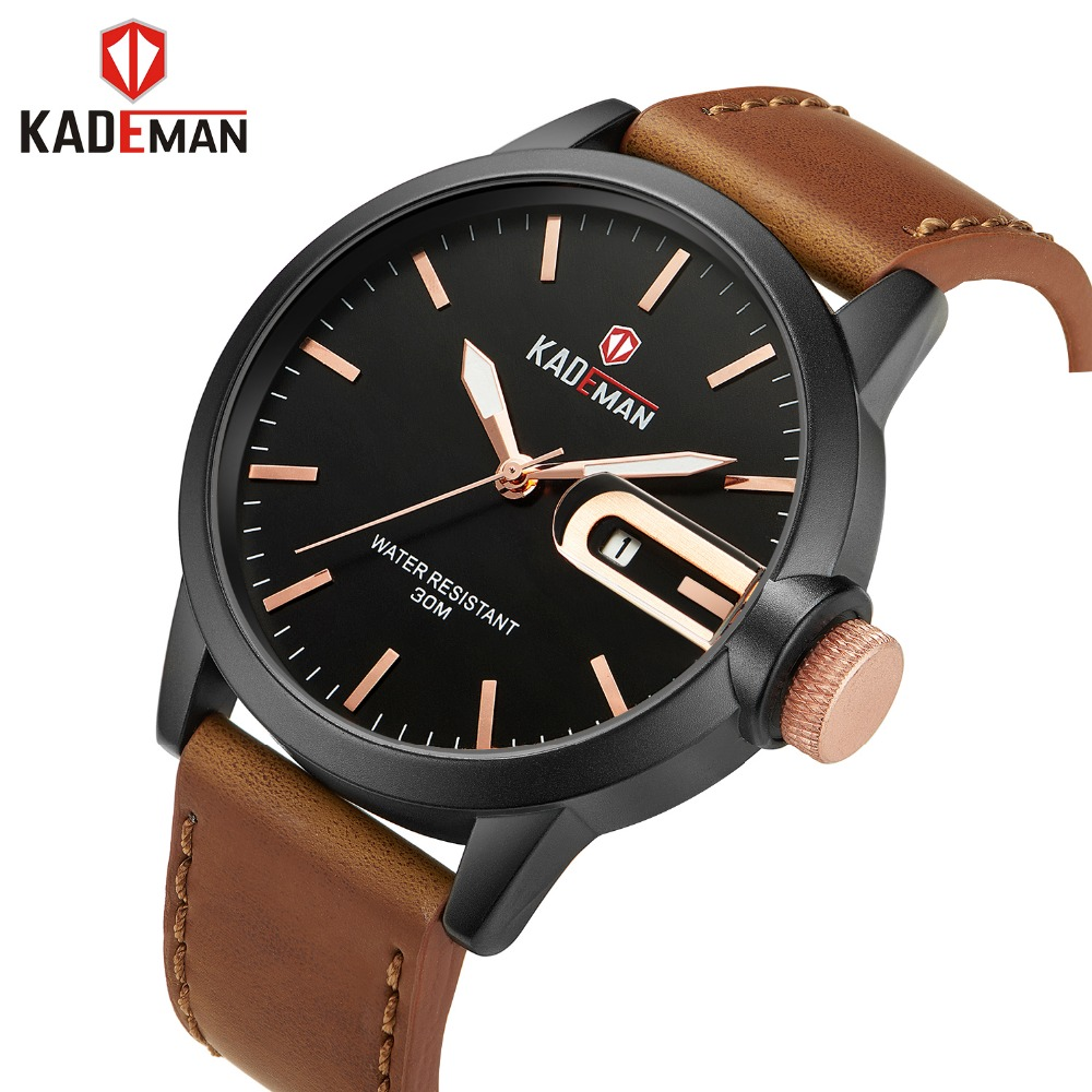 KADEMAN Men's Watches Top Brand Luxury Analog Quartz Watch Men Fashion Casual Luminous Calendar Waterproof Clock Erkek Kol Saati wrist watch for men 2018 calendar luminous leather band waterproof luxury men watch quartz wristwatches erkek kol saati