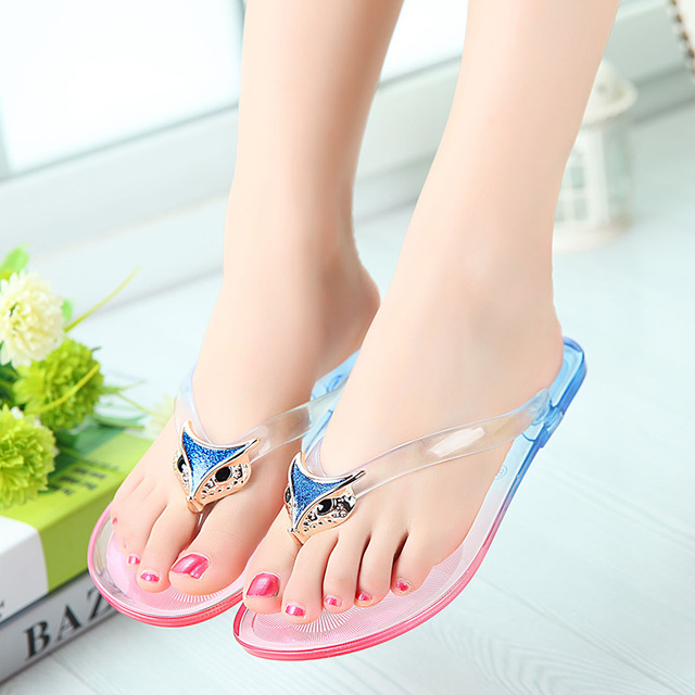 a2eda8d075ffb8 2019 women sandals flip flops Fox summer beach jelly shoes transparent  crystal sandals thong non-