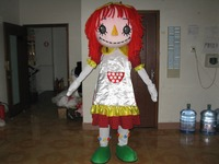 free Fast shipping Red hair girl mascot costume adult roles mascot costume for Cosplay costume