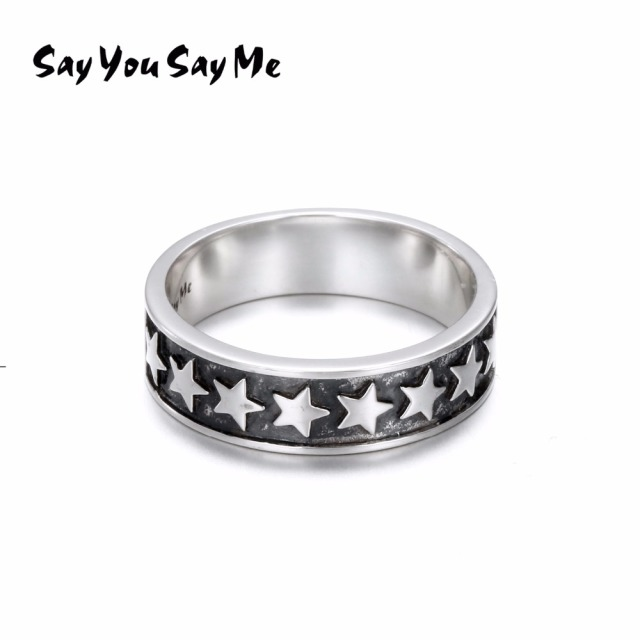 Say You Say Me 925 Sterling Silver Wipe Black Stars Rings Engagement Wholesale Cool Unisex Vintage Rings 2018 New  Best Gift