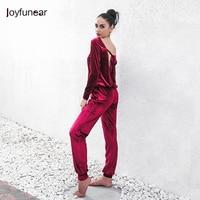 Fashion Solid Color Velet Loose 2 Pcs Suit Women 2 Piece Set Hight Quality Long Sleeve