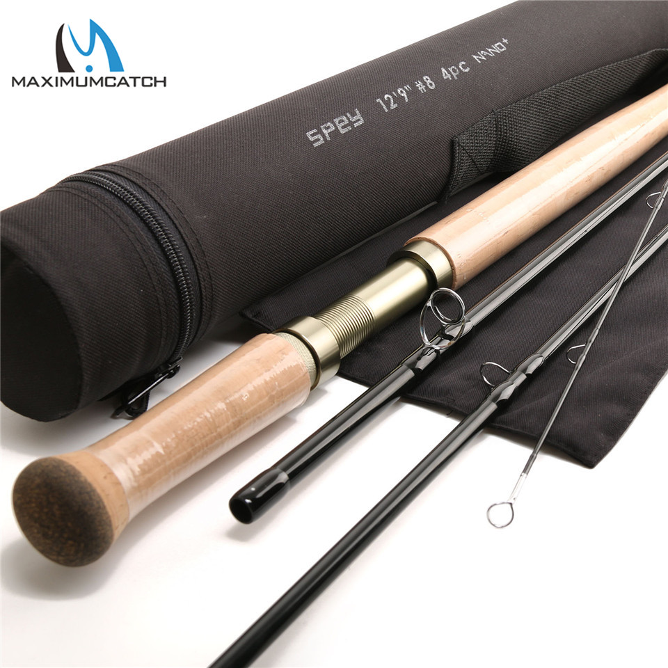 Maximumcatch Spey Fly Fishing Rod 12.9FT 8WT 4SEC NANO Technology Carbon Fiber Medium-Fast Action Fly Rod With Cordura Tube aventik fly fiberglass rod ultra light medium action rod 4pcs cordura rod tube fly fishing rods special introudctory sale