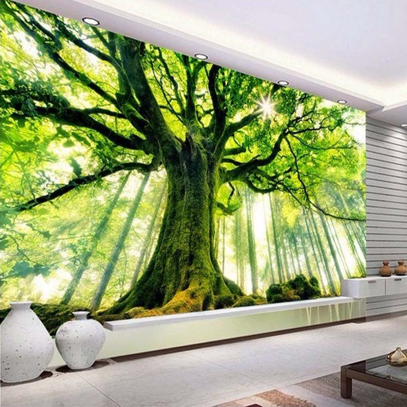 3D Green Gig Tree Nature Landscape Photo Mural For Wall Living Room Background Decor Customized Size Non-woven Straw Wallpaper