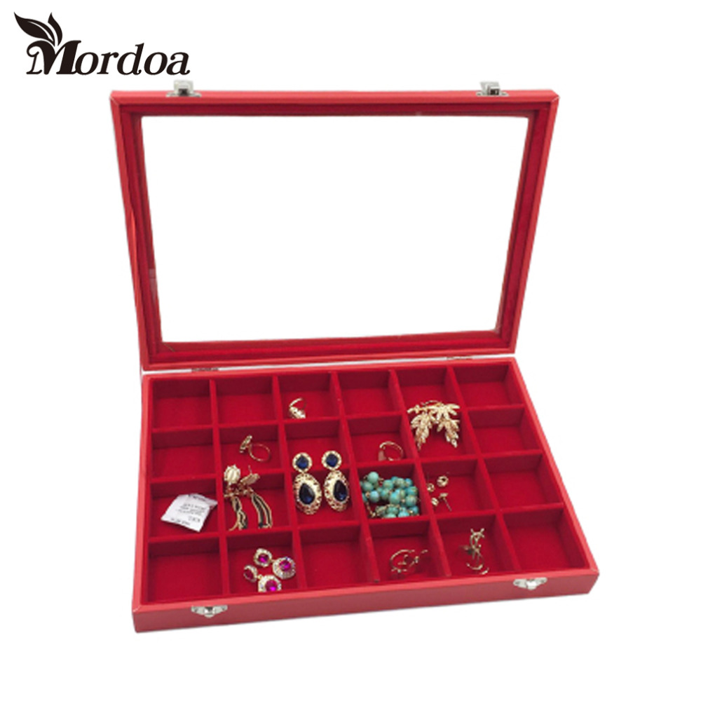 24 slot Red Jewelry Box Glass Cover Ring Storage Box Stud Earring Box Wheel Stud Earring Jewelry Holder Accessories Display Rack ebaycoco luxurious red jewelry accessories packaging black red matte 10table box jewelry box fashion display full box watch
