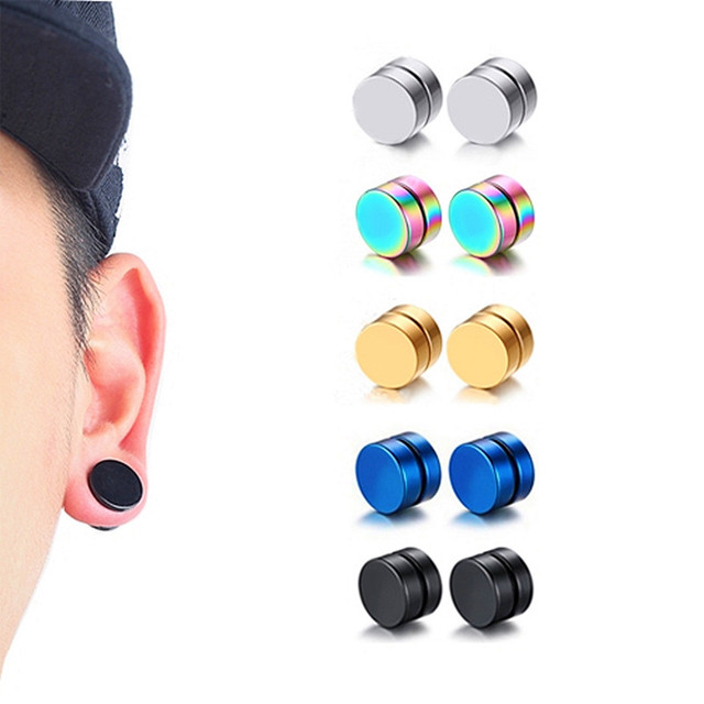 c678d923fcfeb US $1.77 11% OFF|Fashion Stainless Steel Magnetic Stud Earrings For Men  Women Titanium without Piercing Magnets No Ear Hole Earrings Jewelry-in  Stud ...
