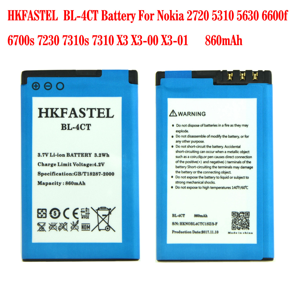HKFASTEL New BL-4CT BL 4CT Li-ion Cell Phone Battery For <font><b>Nokia</b></font> 2720F <font><b>2720A</b></font> 2720 Fold 5310 XpressMusic 5630 5630 7210 860mAh image