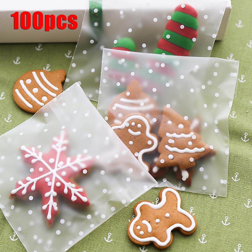 100 PCS Pack Cookies Biscuits Candies Baking Supplies Food Packing Bags Frosted Dots Self Adhesive Cellophane Storage Packs in Gift Bags Wrapping Supplies from Home Garden
