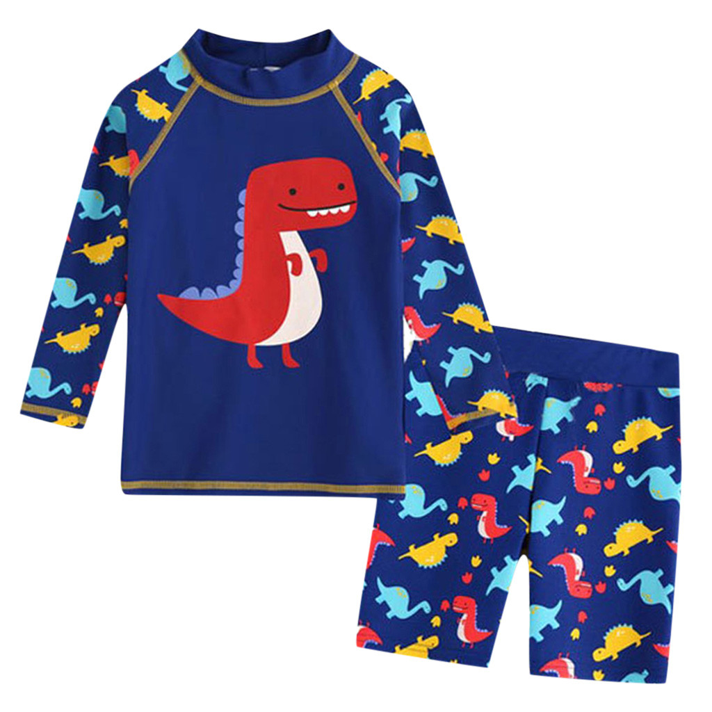 Mother & Kids Muqgewboys Clothing Sets 3t Kid Baby Boy Long Sleeve 3d Dinosaur Cartoon Beach Swimwear Bathing Set Clothes#g7 Clothing Sets