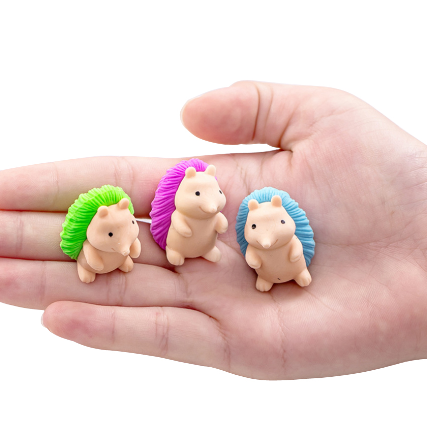 4pcs/lot Lovely Cartoon Hedgehog Shape Rubber Pencils Eraser Cute Reward Gifts For School Students Stationery