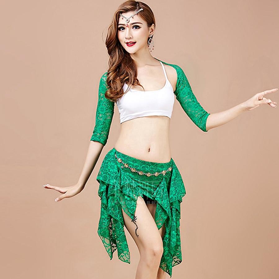 2018 femmes danse du ventre Costume indien danse Costumes 4 pièces (châle + gilet + écharpe de hanche + Leggings) Bollywood Costume Danza Costume Q3022