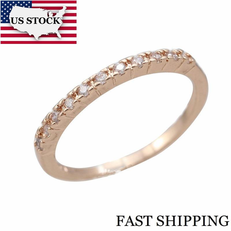 US STOCK Kvinder Vielsesringe Fianit Rose Guldfarve Cubic Zirconia Forlovelsesring Kvinde smykker Gave smykker Uloveido J029