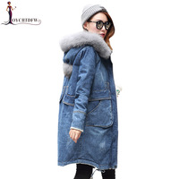 2018 New size Women Denim Outerwear hooded Casual Female Denim Cotton Jacket Winter Large Fashion mid Long Thick warm Coat xy567