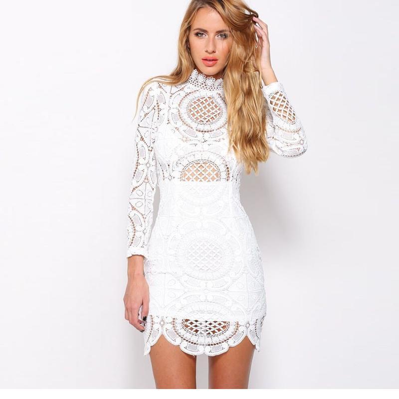 59dd43105fb22 Newest Fall Winter 2017 Ladies White/Black Retro Crochet Lace High Neck  Long Sleeve Mini Dress For Women LC22179 Vestidos