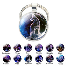Christmas Gifts 12 Zodiac Sign Keychain Constellation Key Chain Rings Holder Bag Wallet Pendant Accessories