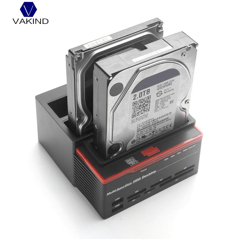 VAKIND 2.5/3.5 pouces USB 3.0 à 2 SATA Ports 1 IDE Port Externe HDD Disque Dur Station D'accueil lecteur de carte USB3.0 Hub