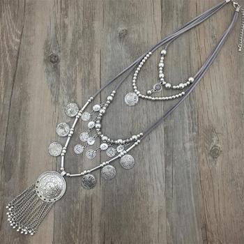 39487c4c950e Novedad mujer declaración collar bohemio colorido plata cuentas Chian borla  colgante largo Collar para vestido Cadena de cuero
