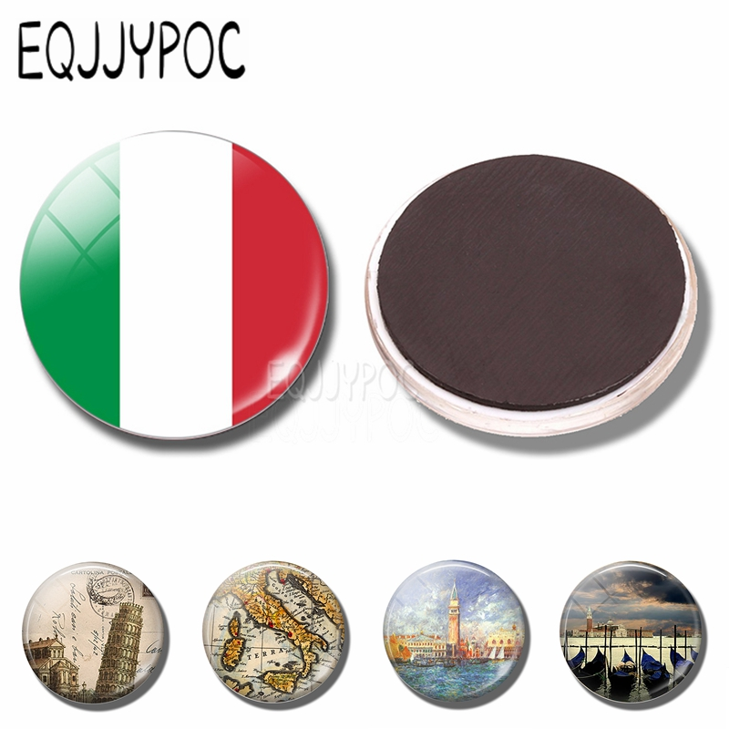 Italy Flag and Map Fridge Magnet Venice Gondolas Leaning Tower of Pisa 30 MM Glass Magnetic Refrigerator Stickers souvenir