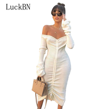 Front Drawstring Sexy Bandage Dresses Women White Slash Neck Long Sleeve Club Party Dress Autumn Winter Off Shoulder Maxi