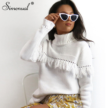 Simenual Fringe turtlenecks winter sweater long pullover female fashion slim side slit white sweaters women knitted clothes pull