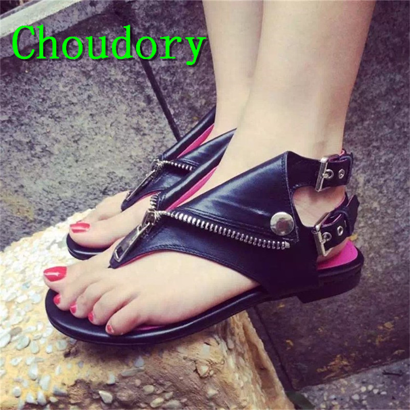 Choudory Casual Solid Flat Genuine Leather Gladiator Shoes Women Buckle Strap Fashion Flat With Metal Decoration Women Sandals