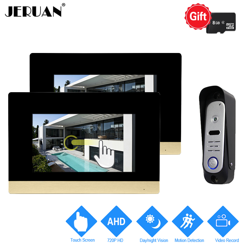 JERUAN 7`` Touch Screen Video Door phone Intercom System 720P AHD Motion Detection 2 Record Monitor +HD Waterproof Camera 1V2 jeruan home 7 video door phone intercom system kit rfid waterproof touch key password keypad camera remote control in stock