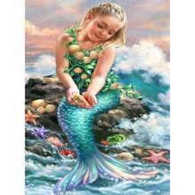 Little mermaid diamond Embroidery diy painting mosaic diamant 3d cross stitch pictures H657